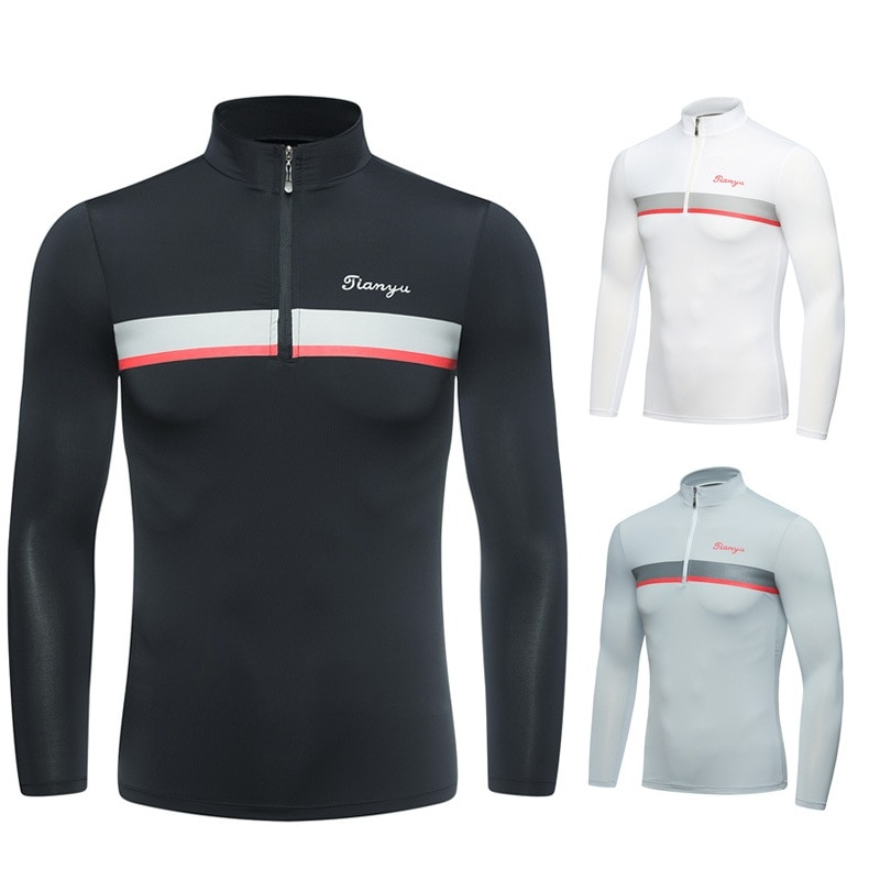 Camisa de Golf de verano para hombre, de manga larga, cuello con cremallera, ropa interior, camisa de Golf con protección solar, camisetas de hielo Uv, ropa de Golf D1076