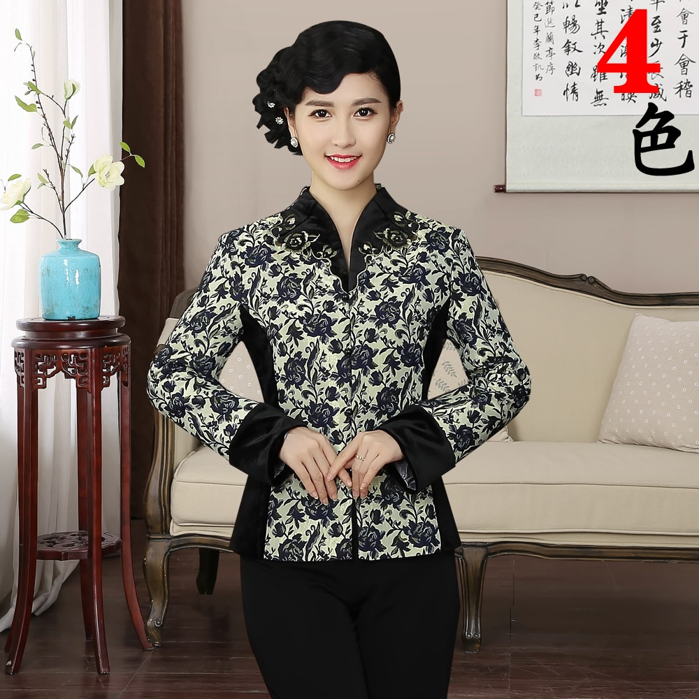 Chaqueta fina de terciopelo tradicional china para mujer