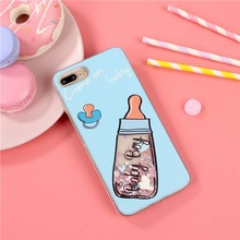 Bling Liquid Dynamic Case Cute 3D Baby Milk Bottle Coque Clear Rubber Gel Phone Cases For iPhone 7 7Plus 6 6s Plus 6Plus Cover