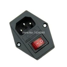 1Pc nouveau noir rouge AC 250V 10A 3 Terminal prise de courant avec porte-fusible livraison directe
