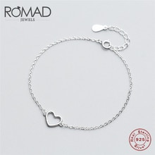 ROMAD 100% 925 ayar gümüş içi boş kalp Link zinciri bilezik ve bilezikler kadınlar için otantik gümüş takı hediye R4
