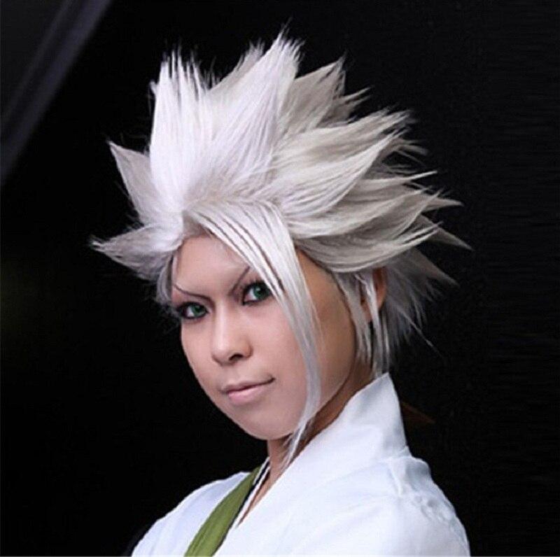 BLEACH Hitsugaya Toushirou peluca corta de color blanco plateado capas esponjosas de fibra sintética resistente al calor pelucas de Cosplay del pelo + tapa de la peluca