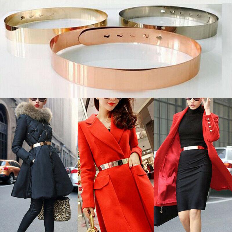 Fashion Women Adjustable Metal Waist Belt Metallic Bling Gold Silver Color Plate Vintage Lady Simple Belts Mirror Waistband