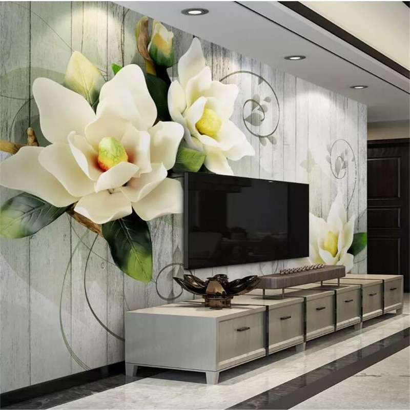 Papel de parede welyu 3D papel pintado personalizado Vintage madera grano jazmín 3d estéreo TV Fondo pared papel peint tapety