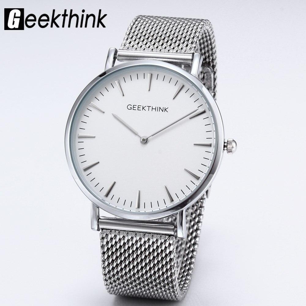 Top Brand Luxury Quartz watches men Casual Fashion Japan Gentleman Silver stainless steel Mesh Band ultra thin clock male Unisex
