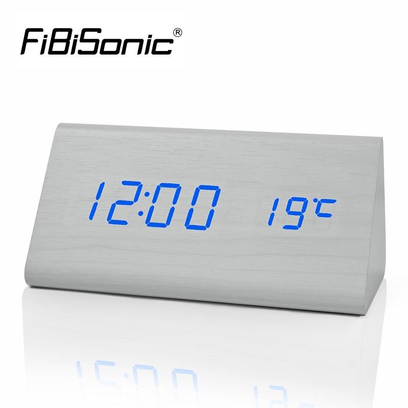 Madeira fibisonic digital led despertador, controle de som despertador de madeira led desktop & relógio de mesa com temperatura