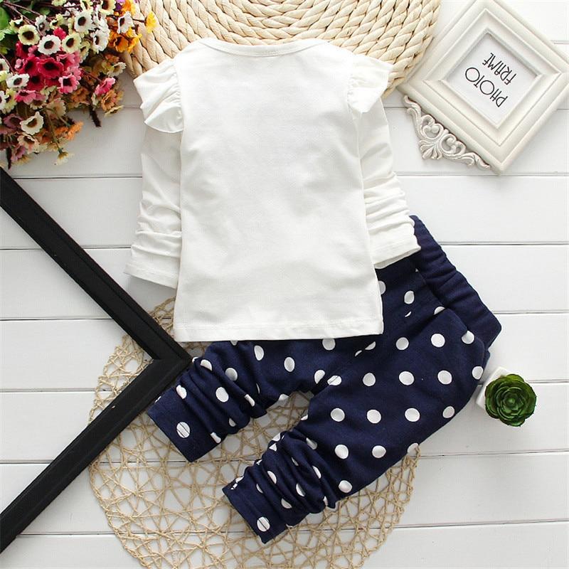 Купить с кэшбэком 2021 Spring New Children's Clothing Fashion Baby Girl Out 2pcs Suit Coat +Pant Cartoon Set Newborn Baby Cotton Clothes Suit