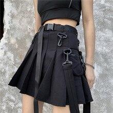 Vintage nueva moda casual mujer bolsillo verano hip hop Harajuku gótico punk alta cintura A-Line Cargo liso plisado falda