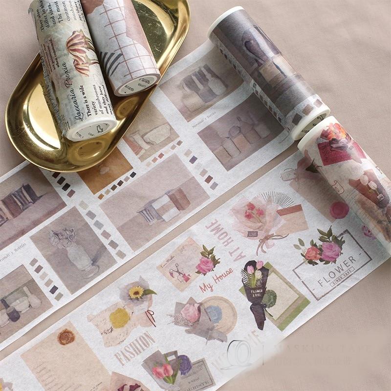 10cm de largura fita washi projeto da flor estilo vintage Morandi cor DIY scrapbooking decoração papelaria planejador