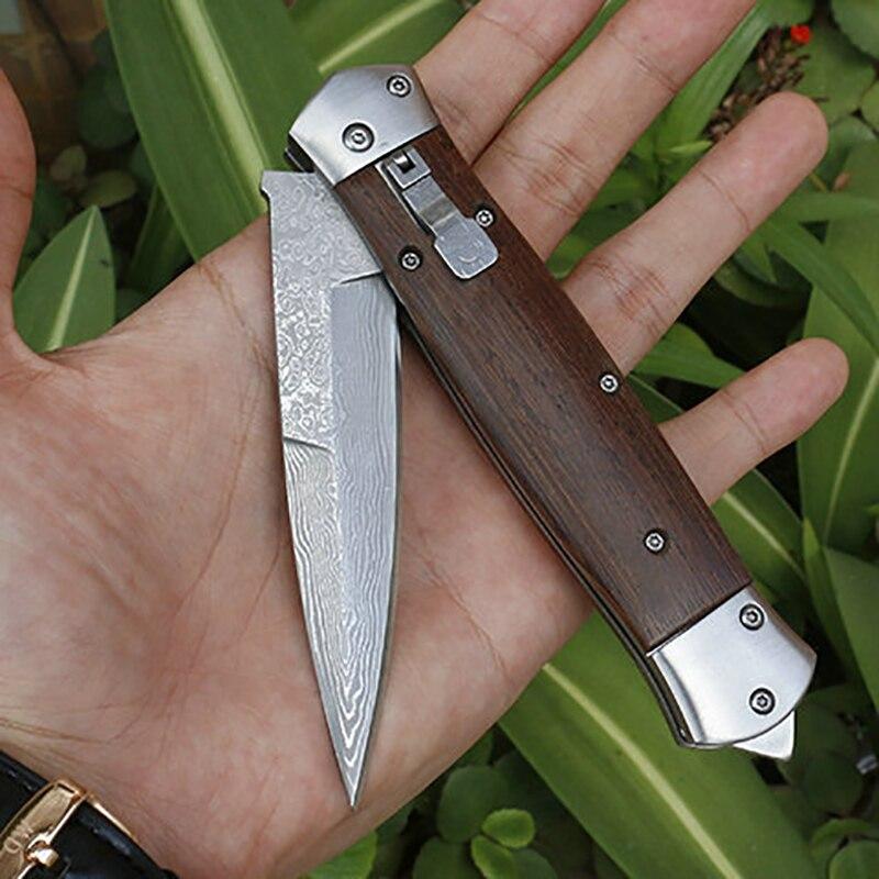 سكين دمشق الصلب ، سكين قابل للطي ، سلاح تخييم خارجي ، دفاع عن النفس ، شحن مجاني