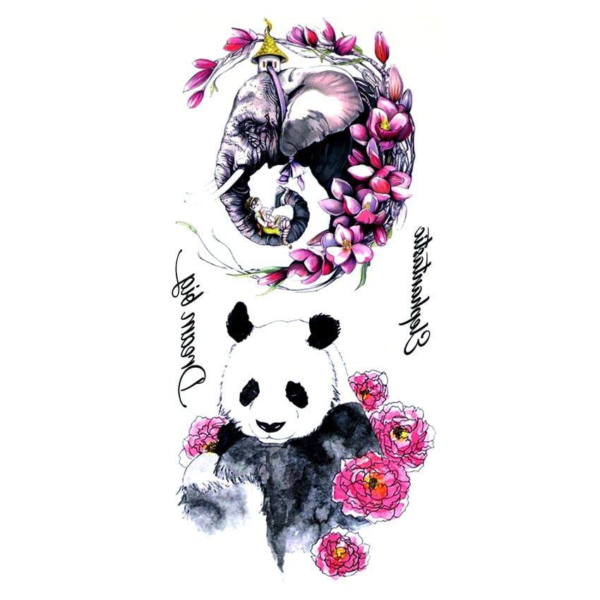 5 uds Panda y elefante tatuajes temporales impermeables tatuaje de Henna para hombres adhesivo decorativo para el cuerpo Maquiagem Totem tatuaje de pegatinas temporales