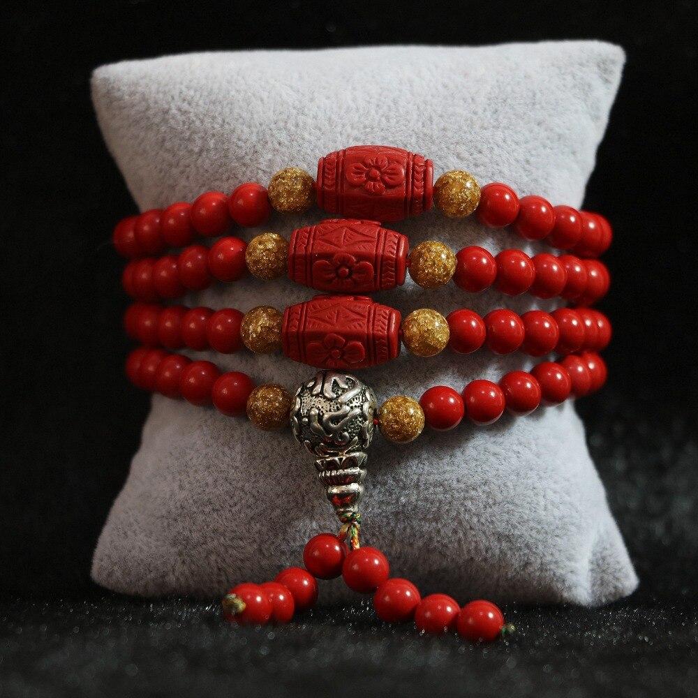 Popular pulsera multicapa cinabrio rojo sintético de 6mm 108 cuentas con pulsera espaciadora de Arroz Amarillo B808