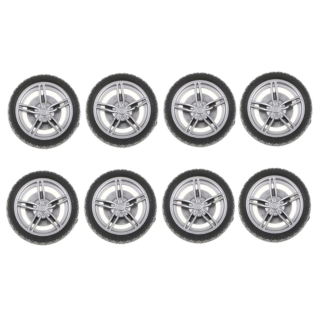 Пластиковые колеса с 5 спицами 30 мм, колеса с мягкой резиновой шиной для гоночного автомобиля RC, упаковка из 10