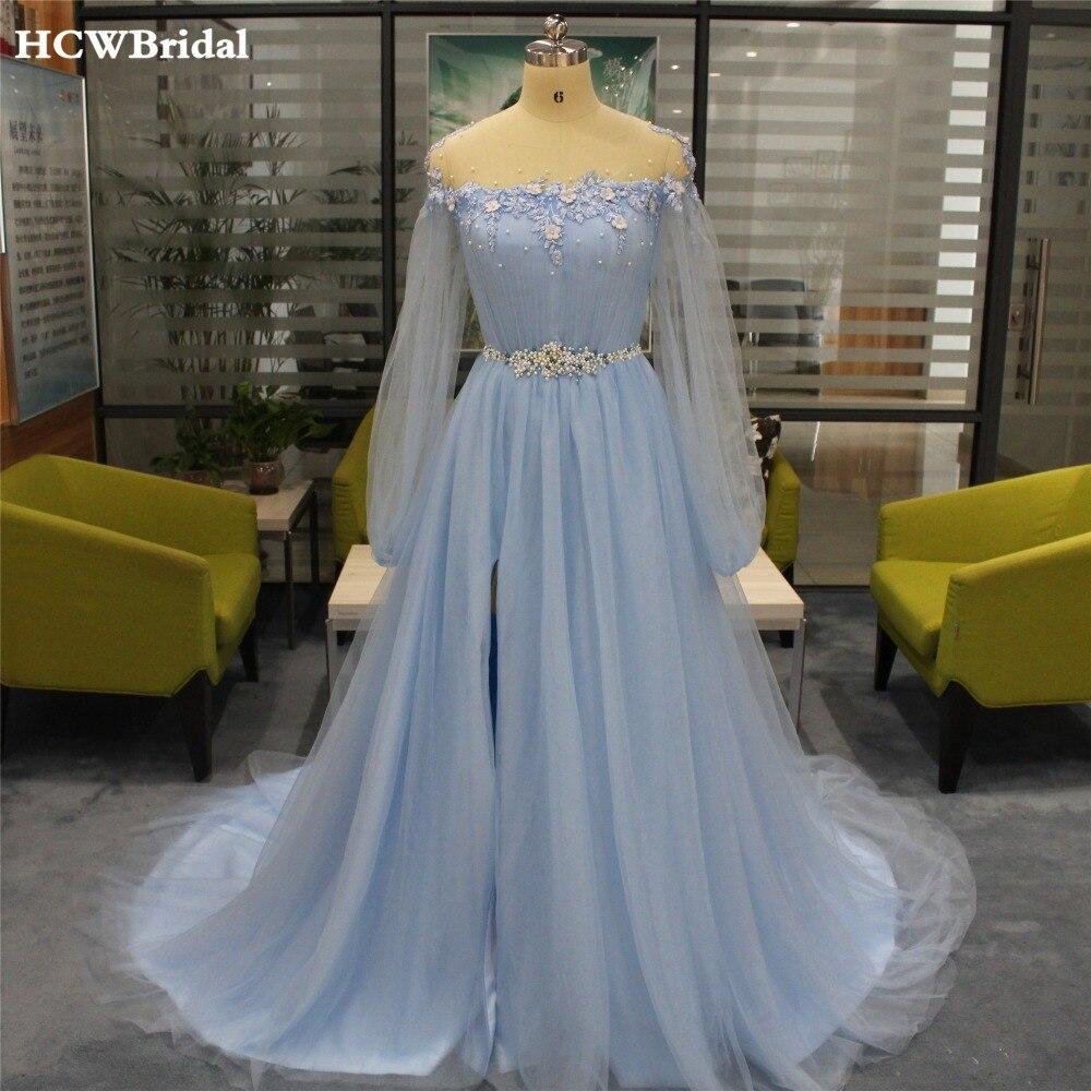 Vestido de noche de manga larga, azul claro, con cola alta partida, con encaje de perlas, vestidos de gala de tul, novedad, vestidos de ocasión hechos a medida para mujer