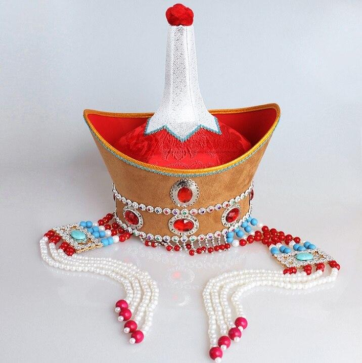 Mongolia Único Headwear Chapéu Feminino Chapelaria da Alta-coroado Senhora Chapéu Mongol Real Adulto Espetáculo de Dança Nacional Chapéu Vermelho