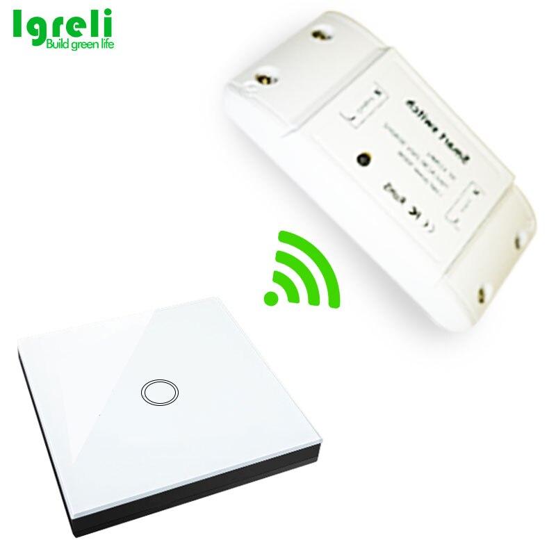 Interruptor inteligente táctil inalámbrico Igreli, piezas Diy de modificación casera común con Control remoto del receptor de 433mhz para la luz del hogar