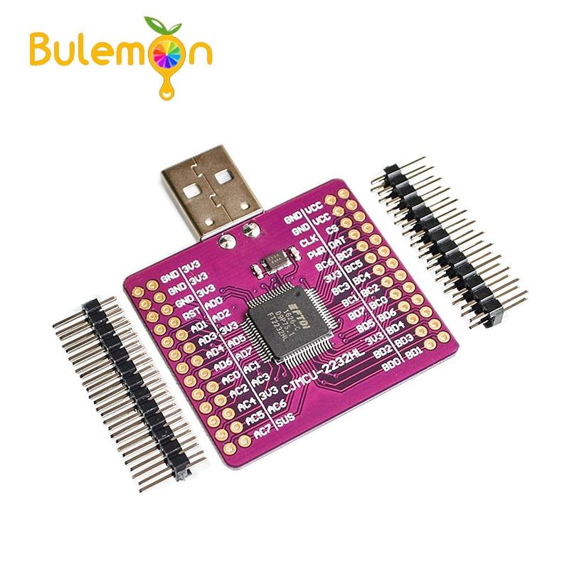 2 unids/lote MCU-2232 FT2232HL de USB a UART/FIFO/SPI/I2C/JTAG/RS232 módulo