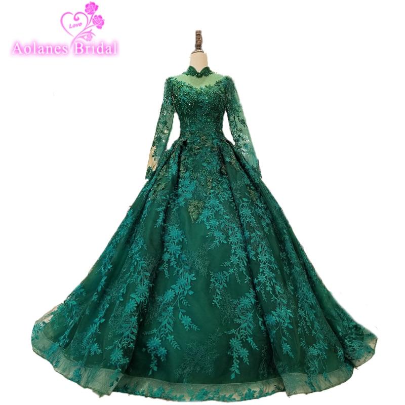 Cristal de Esmeralda verde lentejuelas vestidos de noche 2017 ilusión modesta manga larga árabe fiesta de Dubai vestido formal