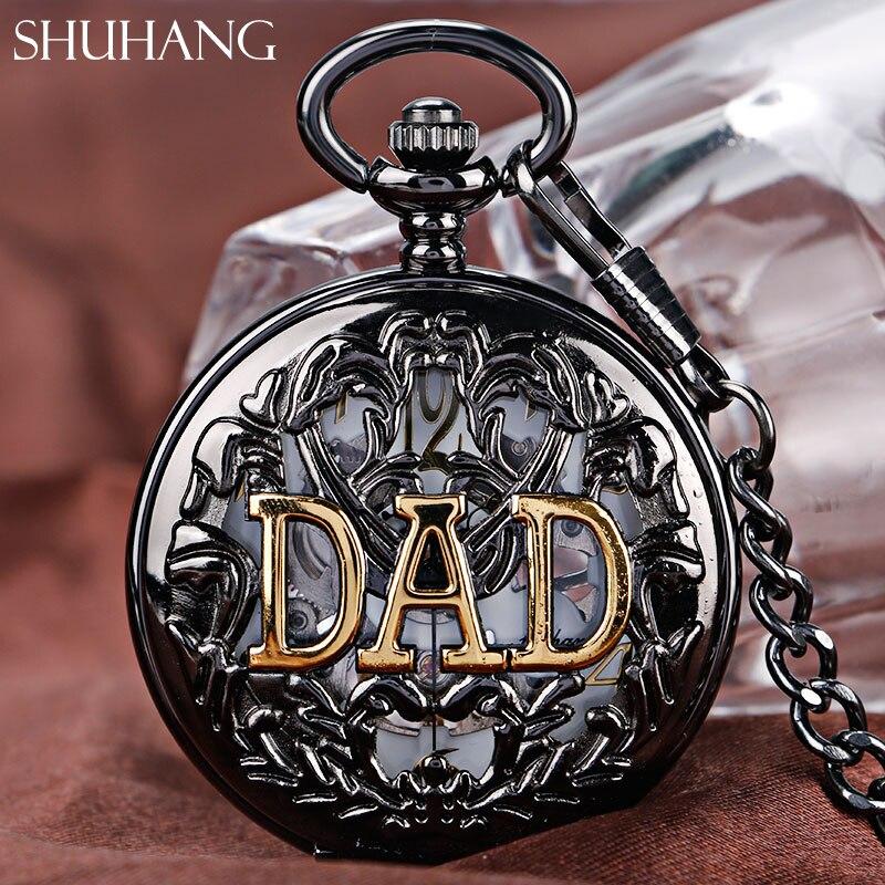 SHUHANG najlepszy tata prezent Steampunk mechaniczne zegarki kieszonkowe łańcuch prezent szkielet ręcznie nakręcany mężczyźni zegarek złoty ojciec tata tata jest dzień