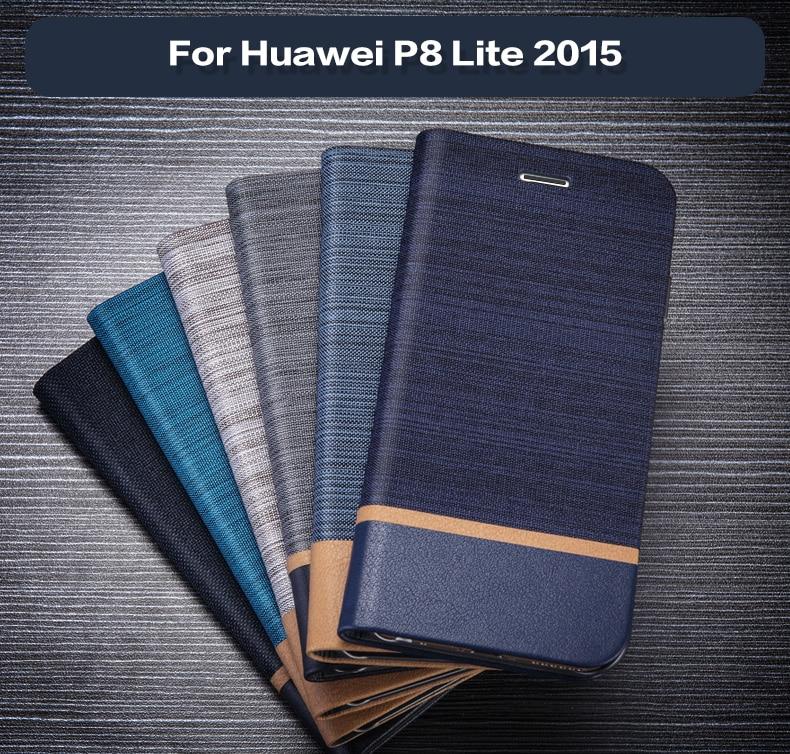 Funda de bolsa de cuero Teléfono Pu para Huawei P8 Lite 2015, funda de libro con tapa para Huawei P8 2015, funda de negocios, funda trasera de silicona suave de Tpu