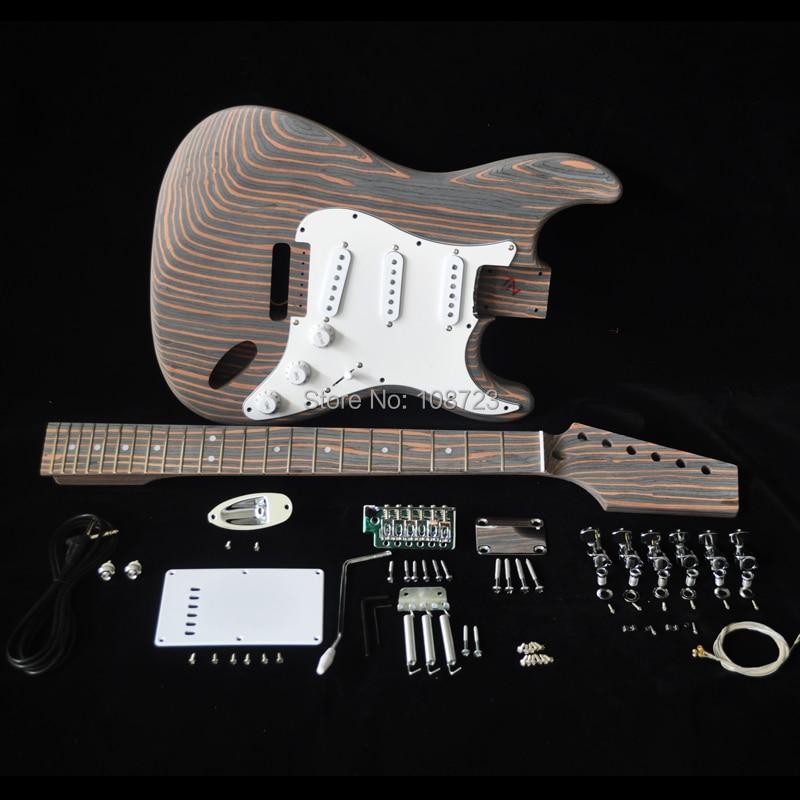 Diy kit de guitarra elétrica com zebrawood corpo zebra madeira pescoço e fingerboard 22 traste s s pickups kits construtor