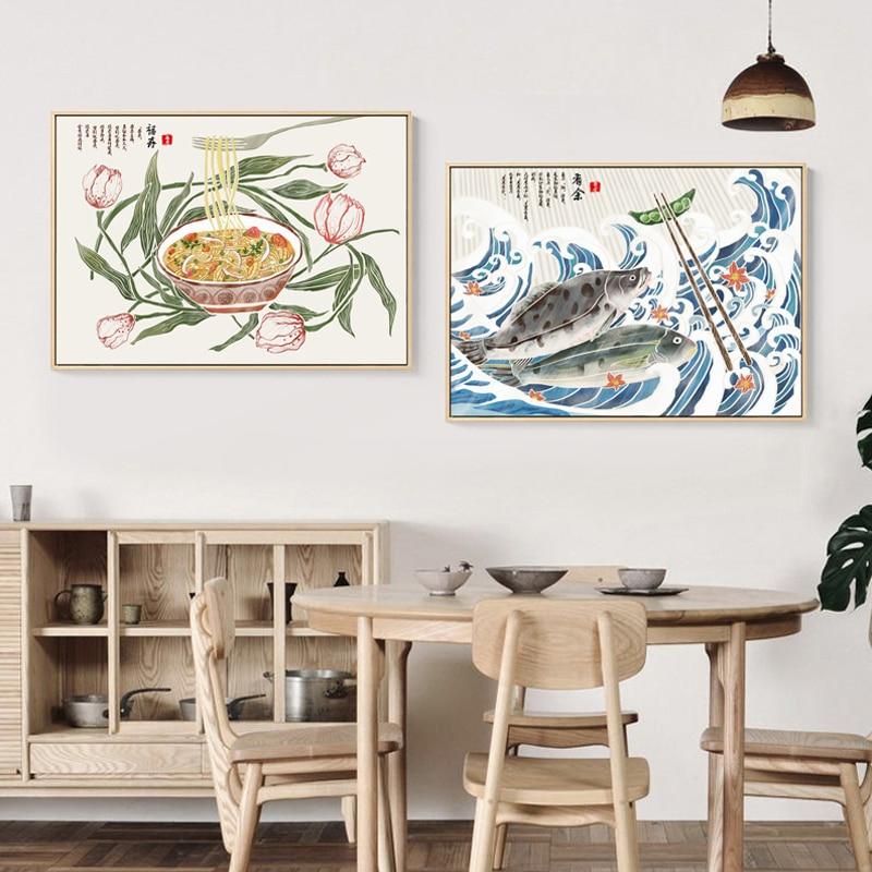 Retro estilo chino verduras pintura de la lona carteles n imprimir casa moderna decoración de pared imágenes artísticas para la sala de comedor
