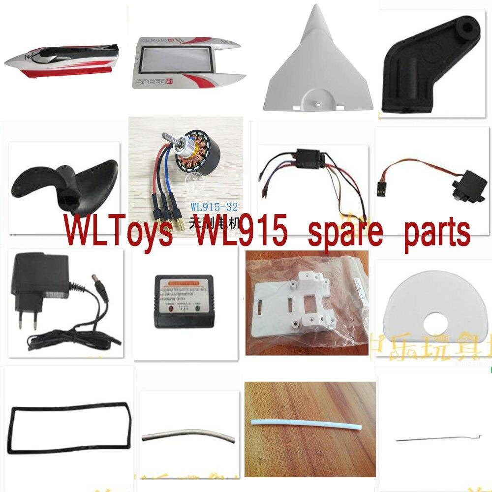 WLToys WL915 RC piezas de repuesto para barco, hélices, motor de batería, servo ESC adaptador, cargador de equilibrio, cuerpo, carcasa extraíble, varilla, etc.
