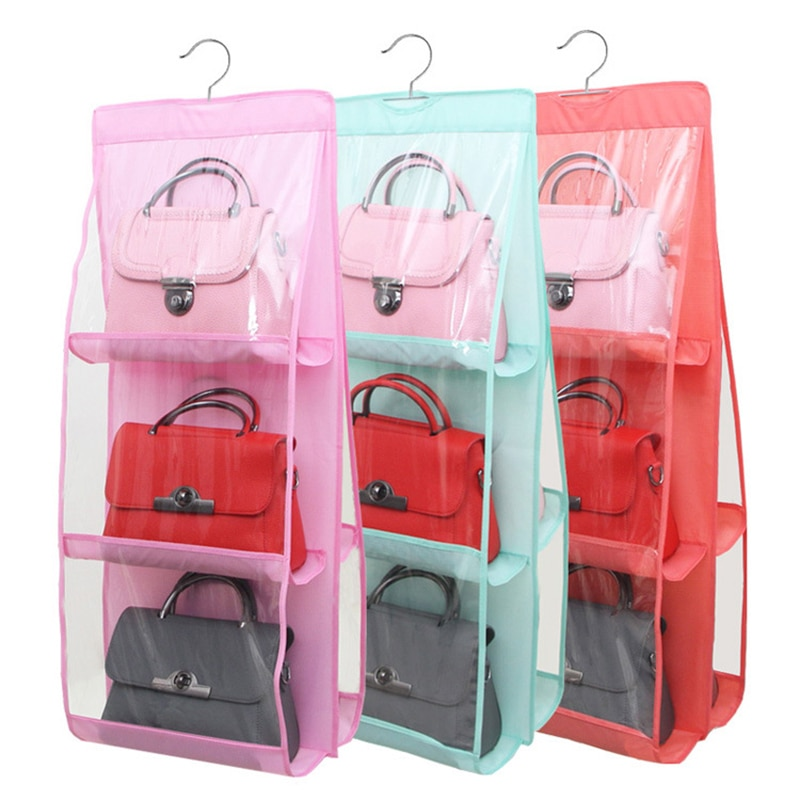 Non-Woven Fabric Hanging Organizer Bag For Handbags Storage Transparent Hang Pocket Three Layer Portable Dust Protect Cover Bag
