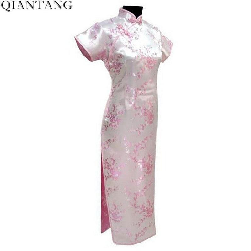 Лидер продаж, светло-Розовое женское атласное классическое длинное платье Ципао с цветами, Размеры S M L XL XXL XXXL 4XL 5XL 6XL Mujer Vestido J3086