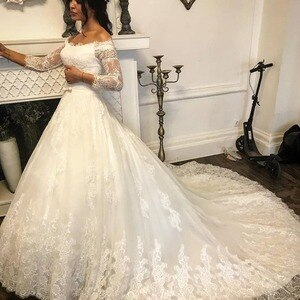 Robe de mariee Vintage Wedding Dress Long Sleeves Off the Shoulder Lace Appliques Modest Elegant Custom Gowns For Bride