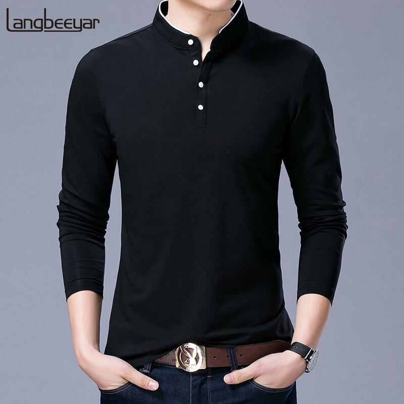 Venda quente 2020 nova marca de moda roupas polo dos homens gola mandarin manga longa fino apto meninos polos casual roupas masculinas