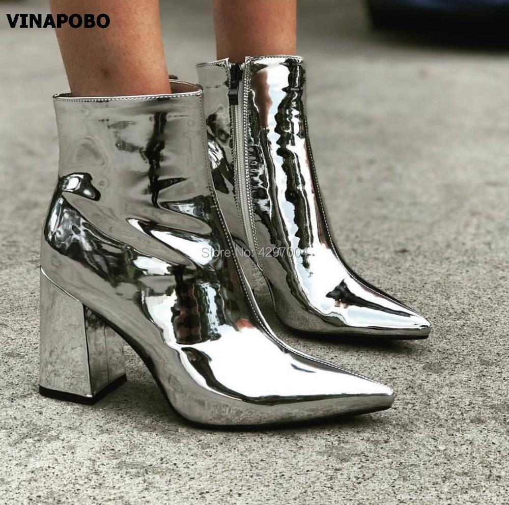 ¡Novedad de 2018! Botas de piel con espejo para mujer, botas en punta, zapatos de fiesta para mujer, botas de tacón grueso, zapatos de vestir, botines de color dorado y plateado