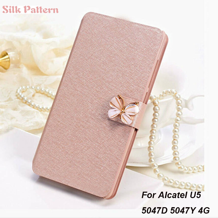 Luxury silk Pattern Leather Flip Case For Alcatel U5 U 5 5047Y 5047D 5044D 5044Y Wallet Stand Leather Case Cover On U5 U 5 5047