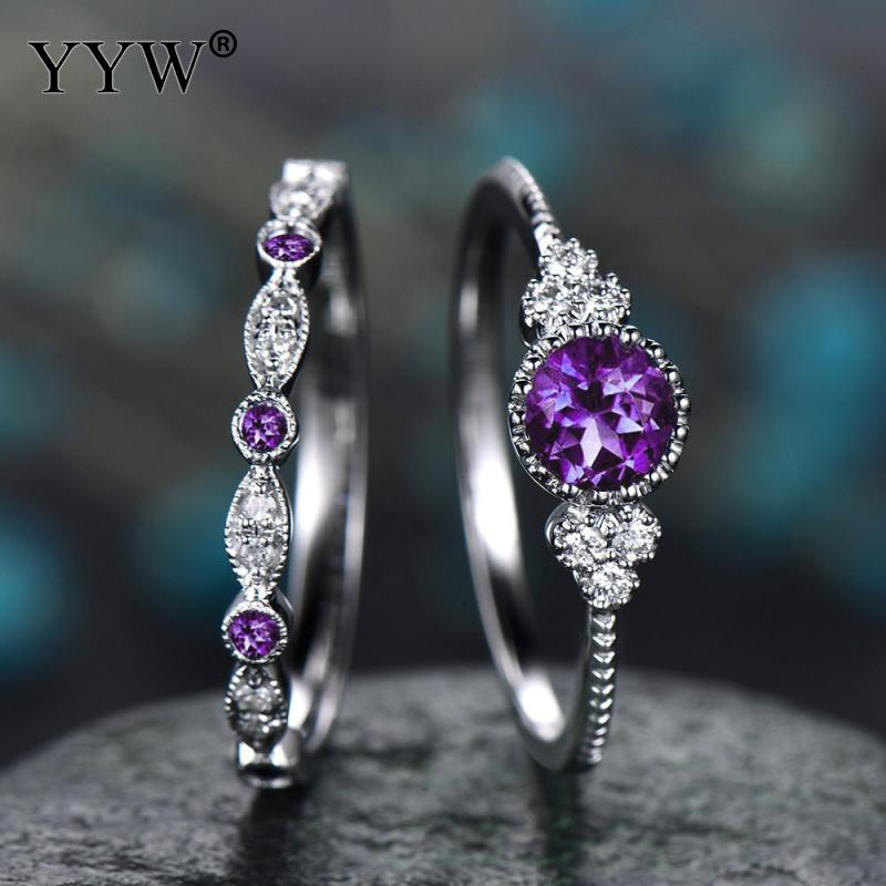 Anillos de cristal de piedra verde azul púrpura para mujeres Color plateado 2019 Anillos de Compromiso de boda de lujo joyería de moda Aneis 2 unids/set