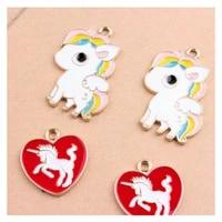 10pcslot fashion zinc alloy unicorn charm pendants floating enamel animal hanging diy earrings dangle jewelry accessories