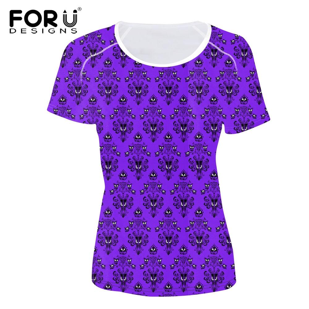FOURDEIGNS, camiseta para mujer, camiseta de manga corta con estampado de Mansion encantada para mujer, Top, camiseta informal, ropa suave, camisetas de moda 2018