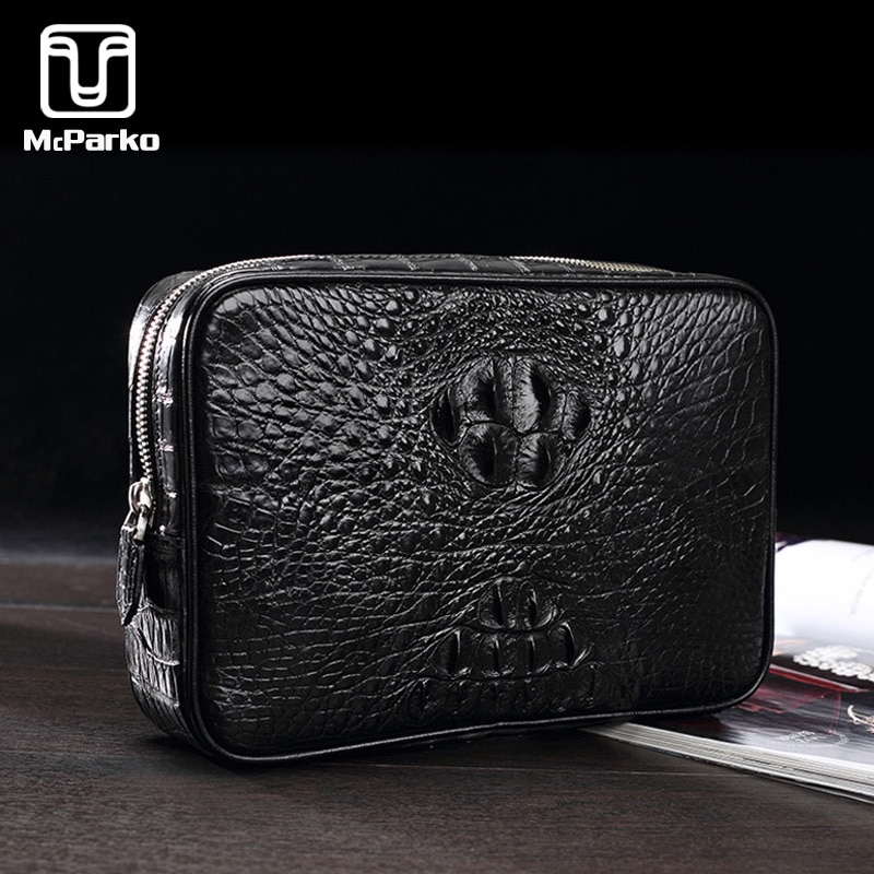 McParko Crocodile Clutch Bag Men Genuine Leather Clutch Wallet Business Luxury Cltuches bags Male Real Alligator Skin Bags Men