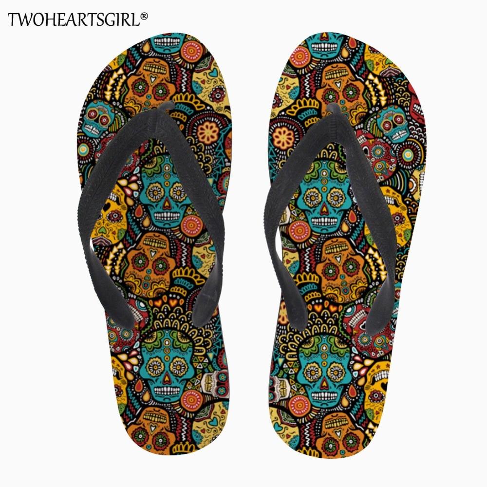 Twoheartsgirl Mexico Skull Print Flip Flops Soft Rubber Sole Flat Slippers for Women Casual Female Ladies Summer Beach Flipflops
