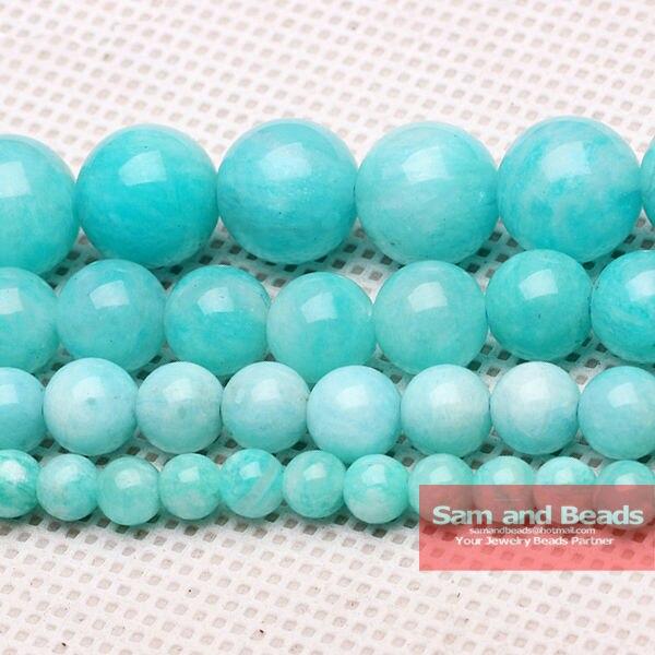 "Free Shipping  Natural stone Aqua Amazonite Round loose stone Beads 16"" 4 6 8 10 12mm Pick size  BAB01"