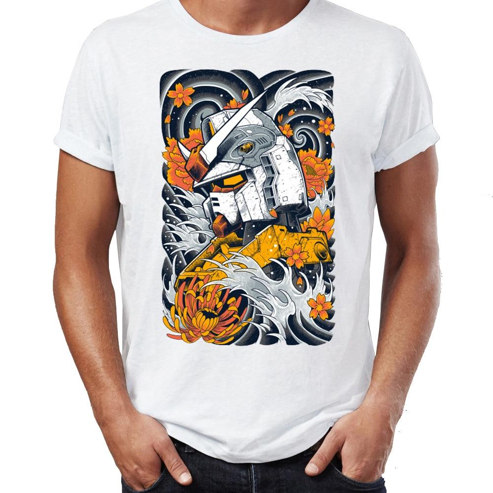 Camiseta masculina nova gundam ondas RX-78-2 samurai robô artsy arte impressionante impresso tshirt camisetas topos harajuku streetwear