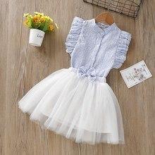 Girls Clothes Set striped sleeveless T-shirt Kids Clothes Set Summer Bow Knot Tops + Mesh Skirt Outfit Set