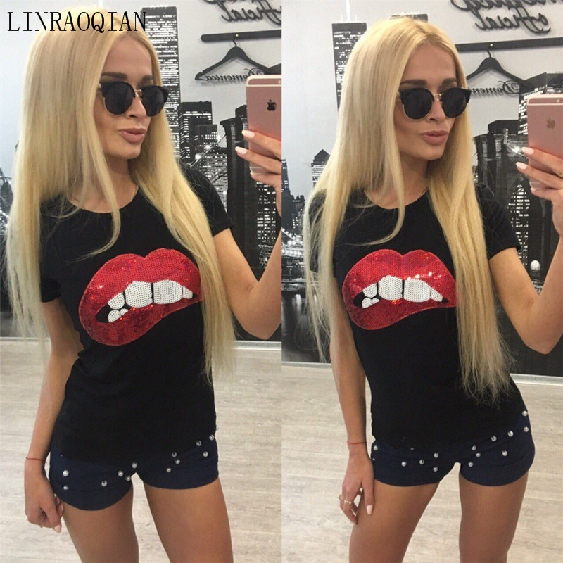 Cotton Tshirt Women Tops Sexy Lip Sequin Top T Shirt Women Clothing Summer Short Sleeve O-neck Camiseta Poleras De Mujer