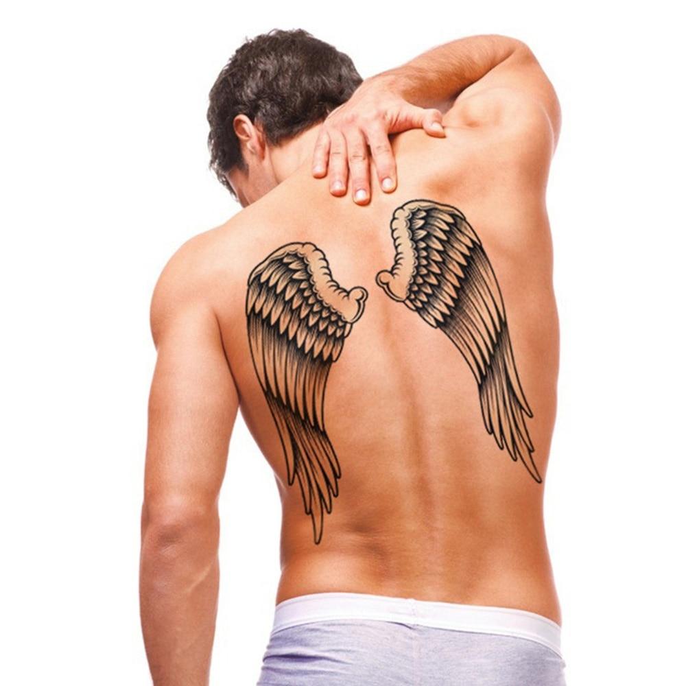 Черные Большие татуировки с крыльями, водостойкие наклейки для временного тату, съемные татуировки на спине