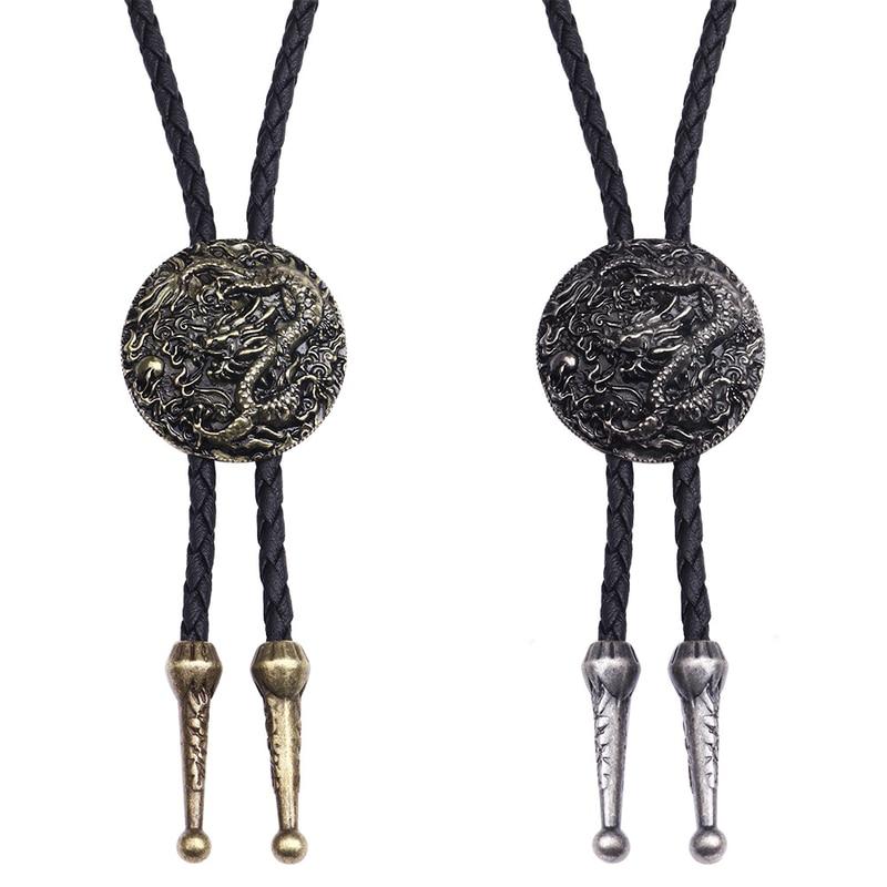 Collar de corbata BOLO estilo étnico hombres mujeres Bolo corbata plata collar de dragón chino de cuero largo collar suéter cadena colgante
