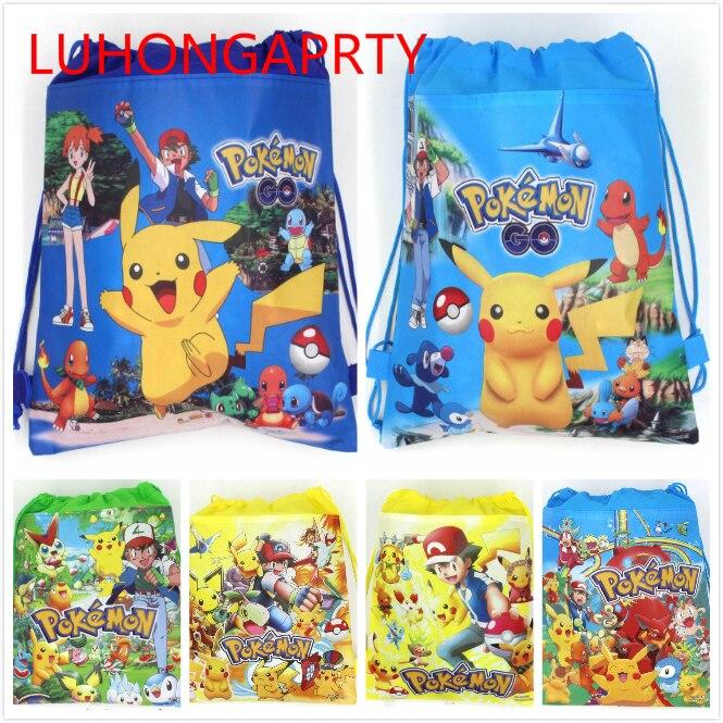 1 Uds. 37*24cm nuevo Pokemon Go dibujos animados telas no tejidas mochila con cordón, mochila escolar, bolsa de la compra