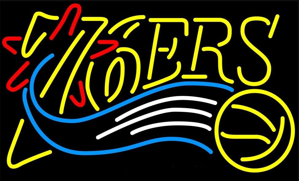 مخصص فيلادلفيا 76ers كرة السلة الزجاج النيون ضوء تسجيل البيرة بار