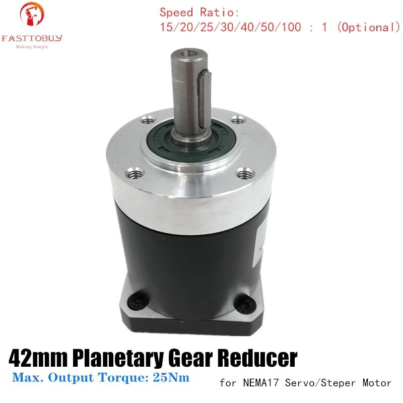 Reductor planetario de engranajes de brida de 42mm de alta precisión relación 15/20/25/30/40/50/100 1 caja de cambios para servomotor NEMA17 42mm 42XG