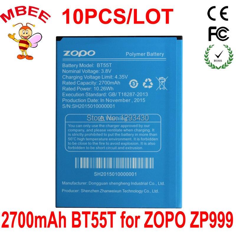 10 Uds 2700mAh Original BT55T batería para ZOPO ZP999 ZP3X batería acumulador AKKU PIL