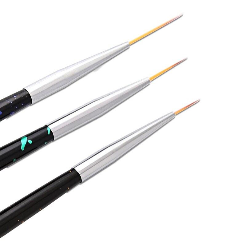 Juego de pinceles para manicura, 3 unidades por lote, pincel para manicura de alta calidad, esmalte de uñas, Gel UV, pinceles de pintura y dibujo, set de herramientas de manicura