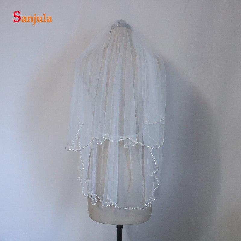 Fotos reales velos de boda perlas borde dos-capa de velo de novia en tul con peine 90 cm longitud P004